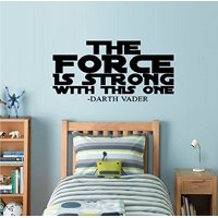 "THE FORCE IS STRONG WITH THIS ONE: Wall Decal , Children, Star Wars Fan (Large 20"" x 40"")"