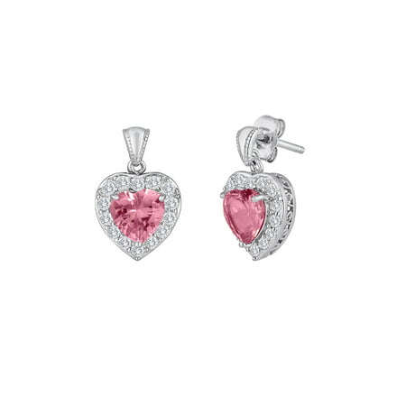 Lab Created Pink and White Sapphire Sterling Silver Earrings