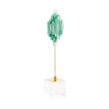 Modern Objects Stone - Modern Contemporary Decorative Figurine Object Figure, Green, Stone Steel Glass