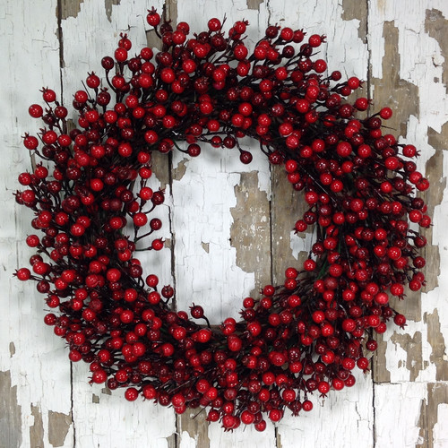 Mills Floral Company 24'' Red Berry Wreath