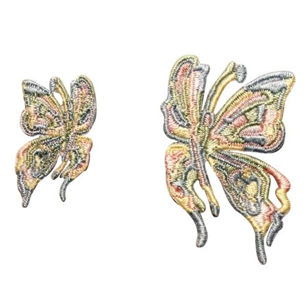 ID 2148AB Set of 2 Rainbow Butterfly Patches Insect Embroidered Iron On Applique