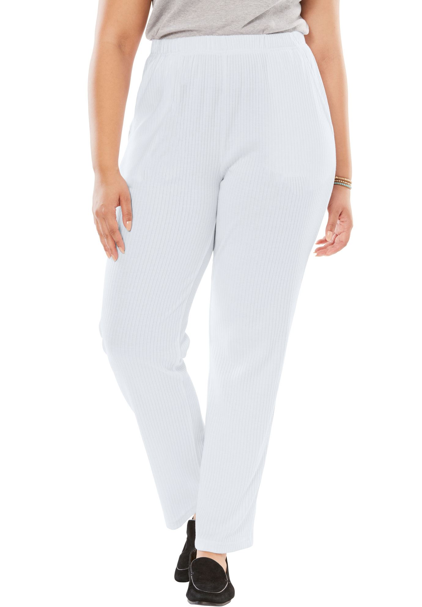 Woman Within Plus Size 7-day Knit Ribbed Straight Leg Pant