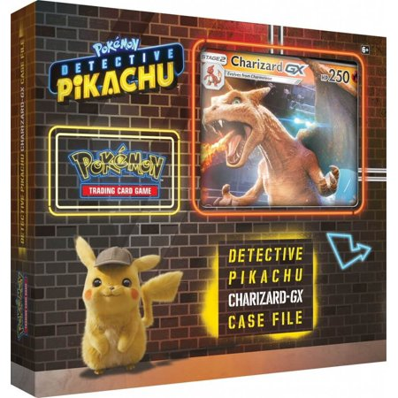 Detective Pikachu Pokemon Trading Cards- Charizard-Gx Case File + 6 Booster Pack + A Foil Promo Card + A Foil Oversize Card - Trading Pokemon