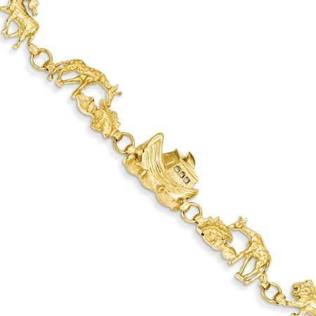 14k Yellow Gold 7in Noah's Ark Bracelet (14k Gold Noahs Ark Bracelet)