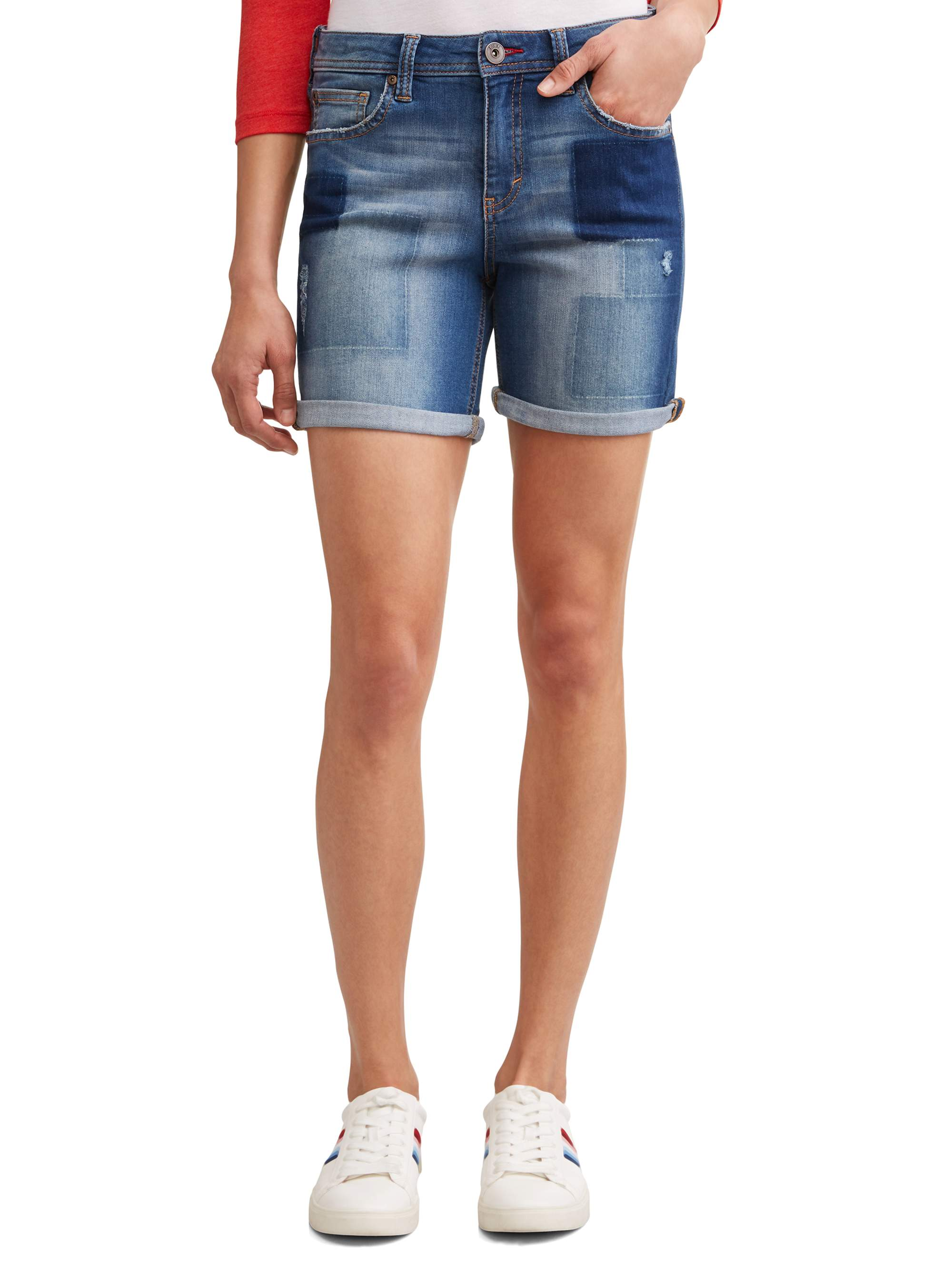 834a02eb02 Ev1 From Ellen Degeneres - Alex Relaxed Vintage Patchwork Denim Short  Women's - Walmart.com