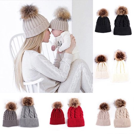 Girl12Queen Cute Kids Baby Boys Girls Mom Hat Set Knitted Winter Warm Hats Soft Beanie Cap
