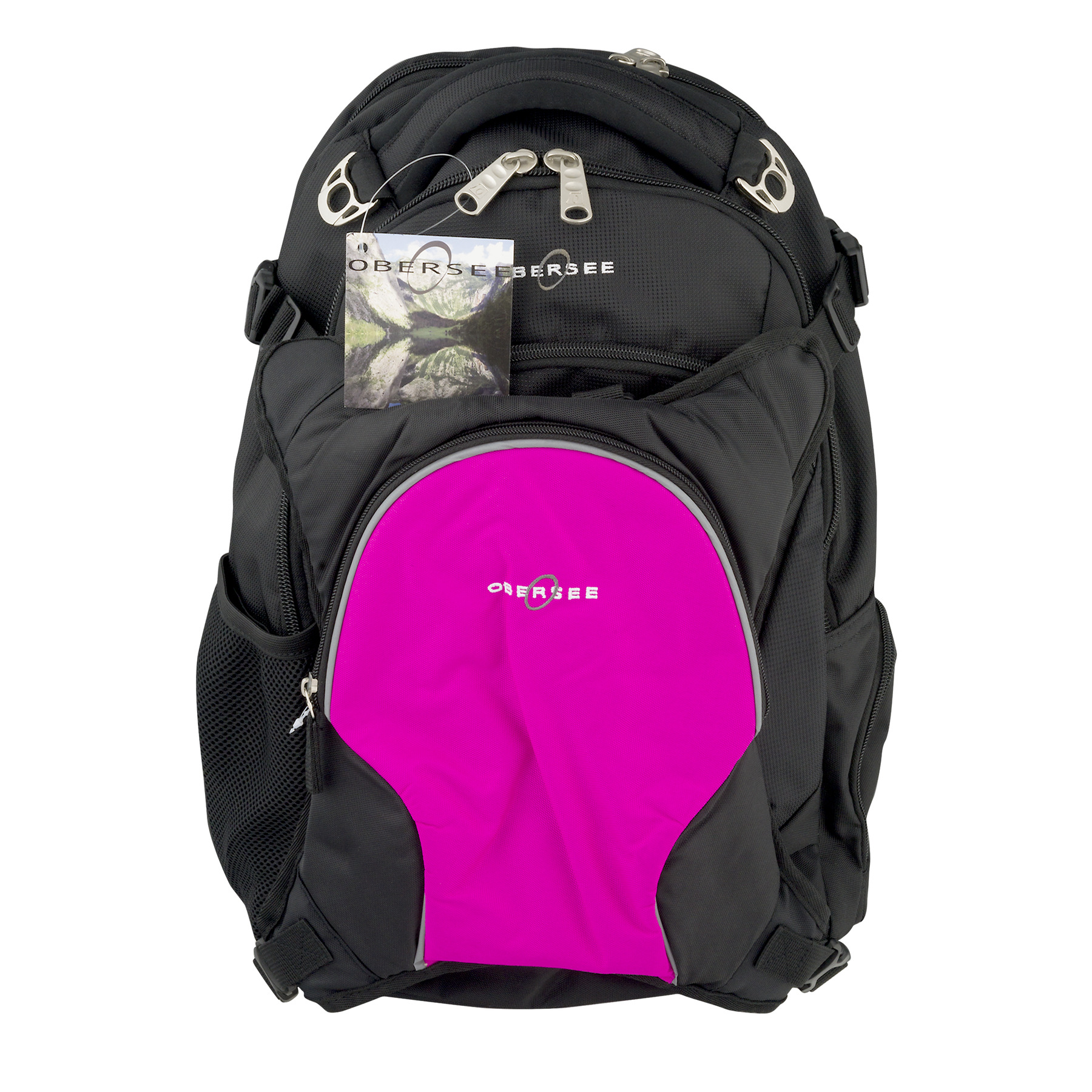 Obersee Oslo Diaper Bag Backpack With Cooler Black Pink, 5.0 CT by Obersee