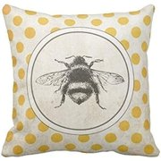 Tayyakoushi Decorative Gorgeous Christmas Throw Pillow Covers Bee Honey Yellow Modern Vintage French Queen Entomology with Bees Pillow Cases Home Decor Square 18x18 Inches