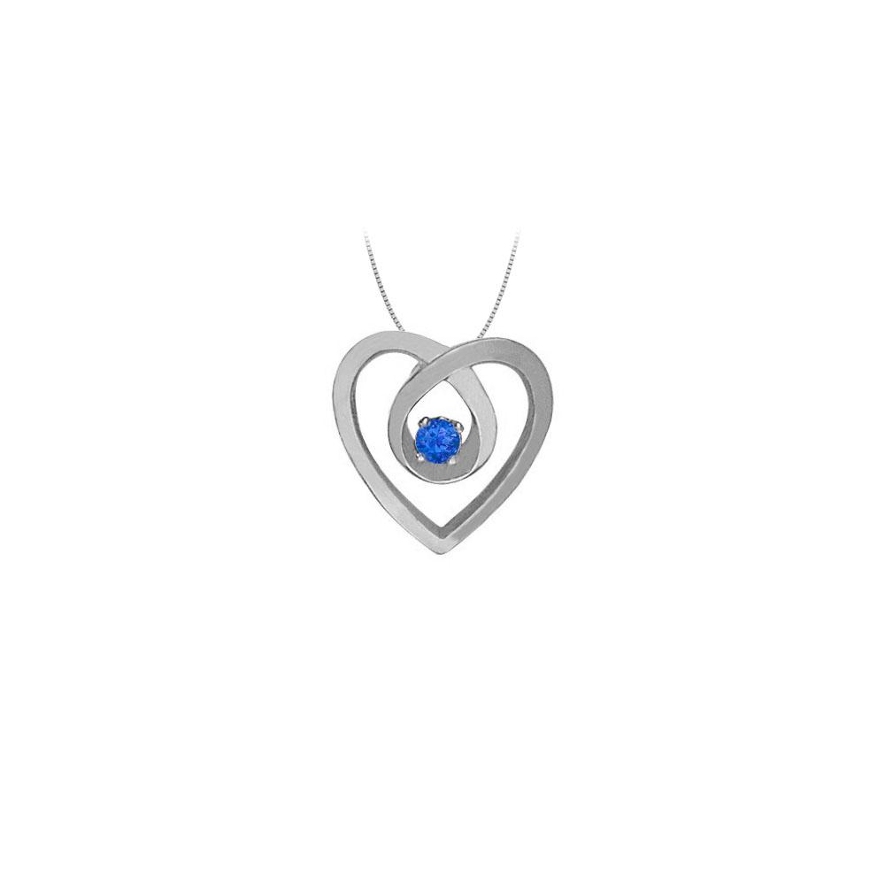 September Birthstone Sapphire Heart Pendant Necklace in Fine Sterling Silver 0.10 CT TGW - image 2 de 2