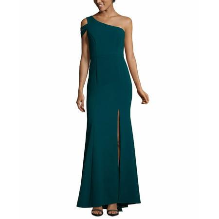 Womens Dress Emerald Sheath One Shoulder Crepe 6 Wedding Womens Light