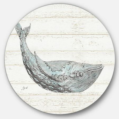 Designart 'Blue Whale Handpainted Watercolor' Nautical & Coastal Metal Circle Wall Art - image 3 of 3