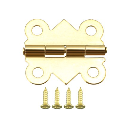 "0.79"" Golden Hinges Butterfly Shape Hinge Replacement with Screws 50pcs - image 2 of 6"