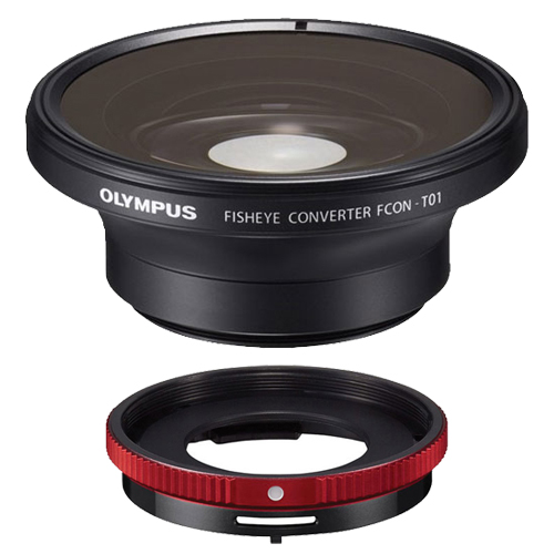 Olympus FCON-T01 Fisheye Converter Lens & CLA-T01 Adapter Ring Pack for Tough TG-1, TG-2, TG-3 iHS & TG-4 Waterproof Digital Camera