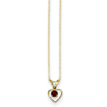 (14k Yellow Gold 3mm Red Garnet Heart Birthstone Chain Necklace Pendant Charm Kid For Women)