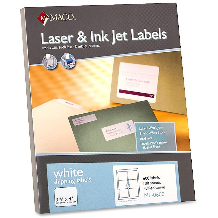 Maco, MACML0600, Laser Printer White Shipping Labels, 600 / Box, White