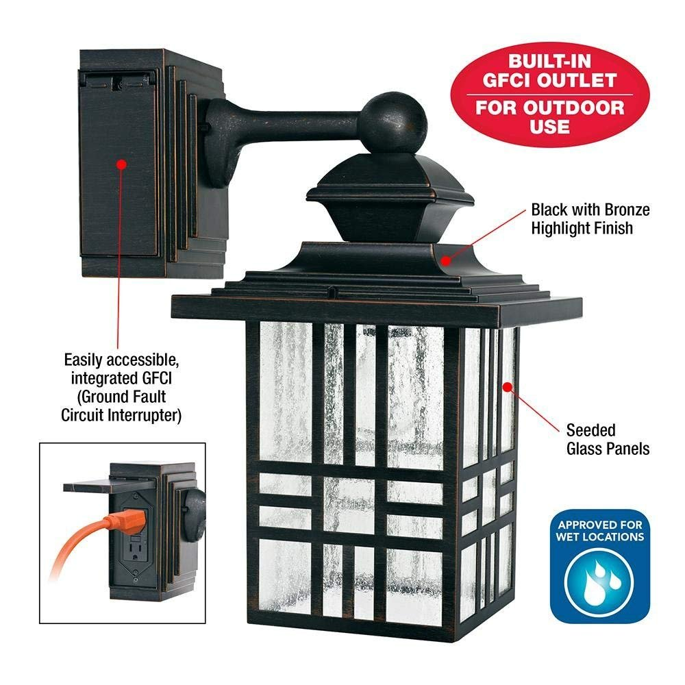 Hampton Bay Mission Style Outdoor Black With Bronze Highlight Wall Lantern