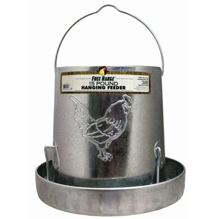 Harris Farms Poultry Hanging Feeder Galvanized Steel For Chickens  15 Pound Capacity