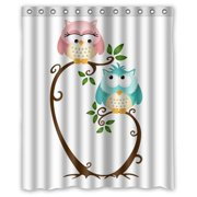 GreenDecor Owl Waterproof Shower Curtain Set With Hooks Bathroom Accessories Size 60x72 Inches
