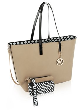 MKF Collection by Mia K. Taylor Reversible Shopper Tote/ Shoulder Bag with Wallet Pouch/Wristlet