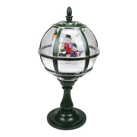 "23.5"" Lighted Green and Silver Musical Snowing Snowman Christmas Table Top Street Lamp - image 1 of 1"