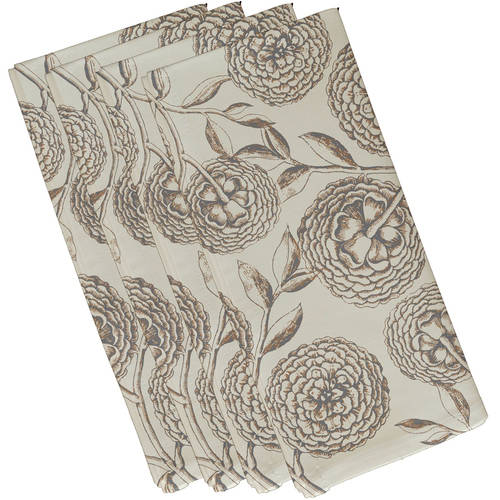 "Simply Daisy 19"" x 19"" Antique Flowers Floral Print Napkin"