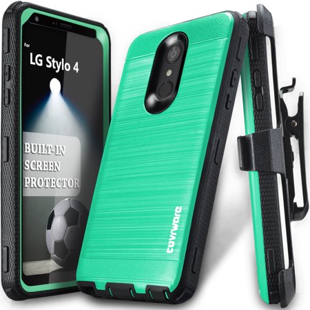 LG Stylo 4 / Stylo 4 Plus / 4 + Case, COVRWARE [Iron Tank] Built-in [Screen  Protector] Heavy Duty Full-Body Rugged Holster Armor [Brushed Metal