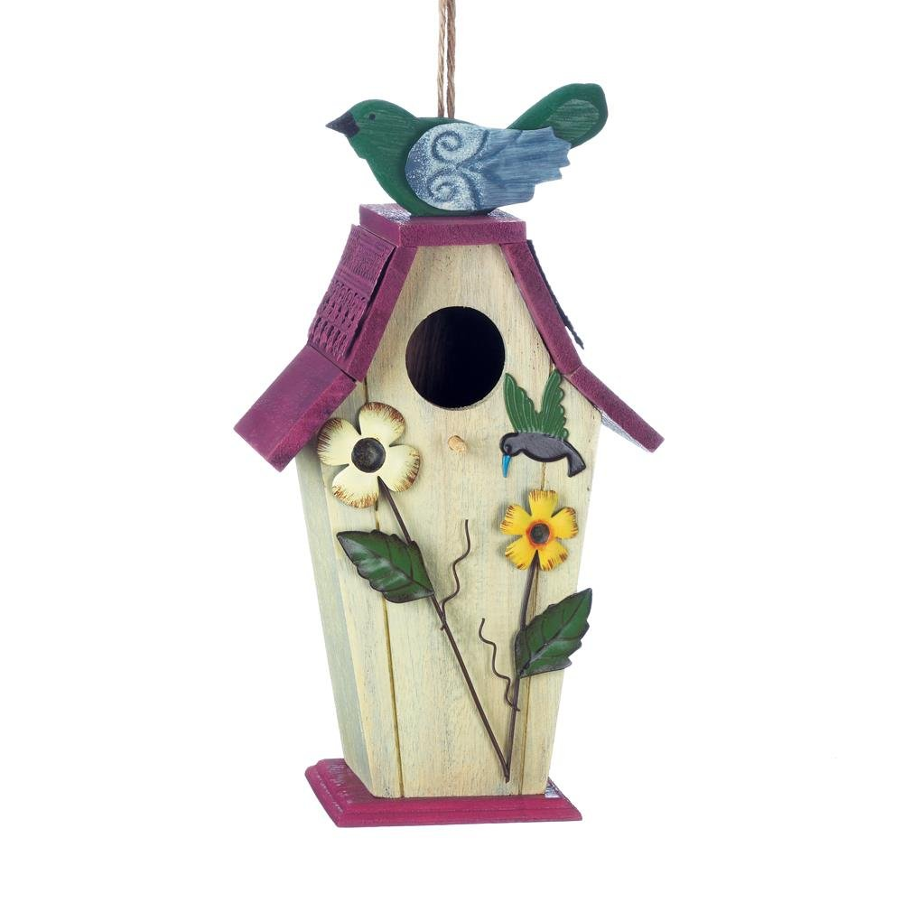 Hanging Bird House, Flower Wooden Outdoor Decorative Rustic Birdhouse, Purple (Sold by Case, Pack of 12)