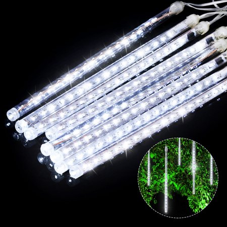 (2/1 Pack)LED Meteor Shower Lights 12 Inch 8 Tube 144 Leds Falling Rain Drop Icicle Snow Fall String LED Waterproof Lights for Holiday Xmas Tree Valentine Wedding Party Decoration ()