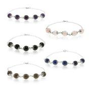 Pearlz Ocean Sterling Silver Faceted Gemstone Bead Bracelet Jewelry for Womens