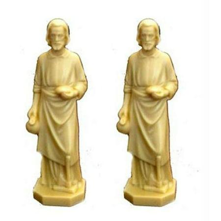 2 X St Joseph Statue Home Seller Faith Saint House 3.5 Inch Figurine NEW