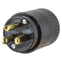 """HUBBELL WIRING DEVICE-KELLEMS Blade Plug,Blk,0.245"""" to 0655"""" Cord Size 515P"""