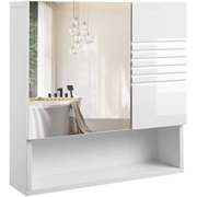 VASAGLE Mirrored Bathroom Cabinet, Storage Cupboard Wall Mounted, Wall Cabinet, White UBBK21WT
