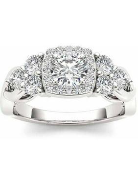 1-1/2 Carat T.W. Diamond Single Halo 14kt White Gold Engagement Ring