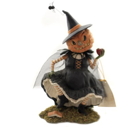 Halloween PLAYING WITH MAGIC WITCH Polyresin Pumpkin Apple Td8528 - Halloween Pumpkin Stencils Witch