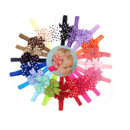 20 Pieces Girl Baby Girls Infant Boutique Wave Hair Flower Headband Hair Bow Band - Cleopatra Head Piece