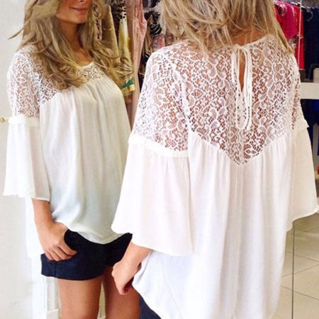 Summer Women Lace Splicing Shirt Casual Loose Solid Blouse Tie 3/4 Sleeves Round Neck Female Top White/Black - image 1 de 7