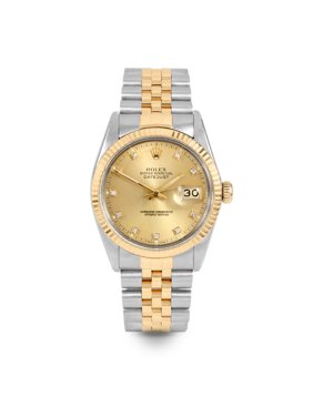 Pre Owned Rolex Datejust 16013 w/ Champagne Diamond Dial 36mm Men's Watch (Certified Authentic & Warranty Included)