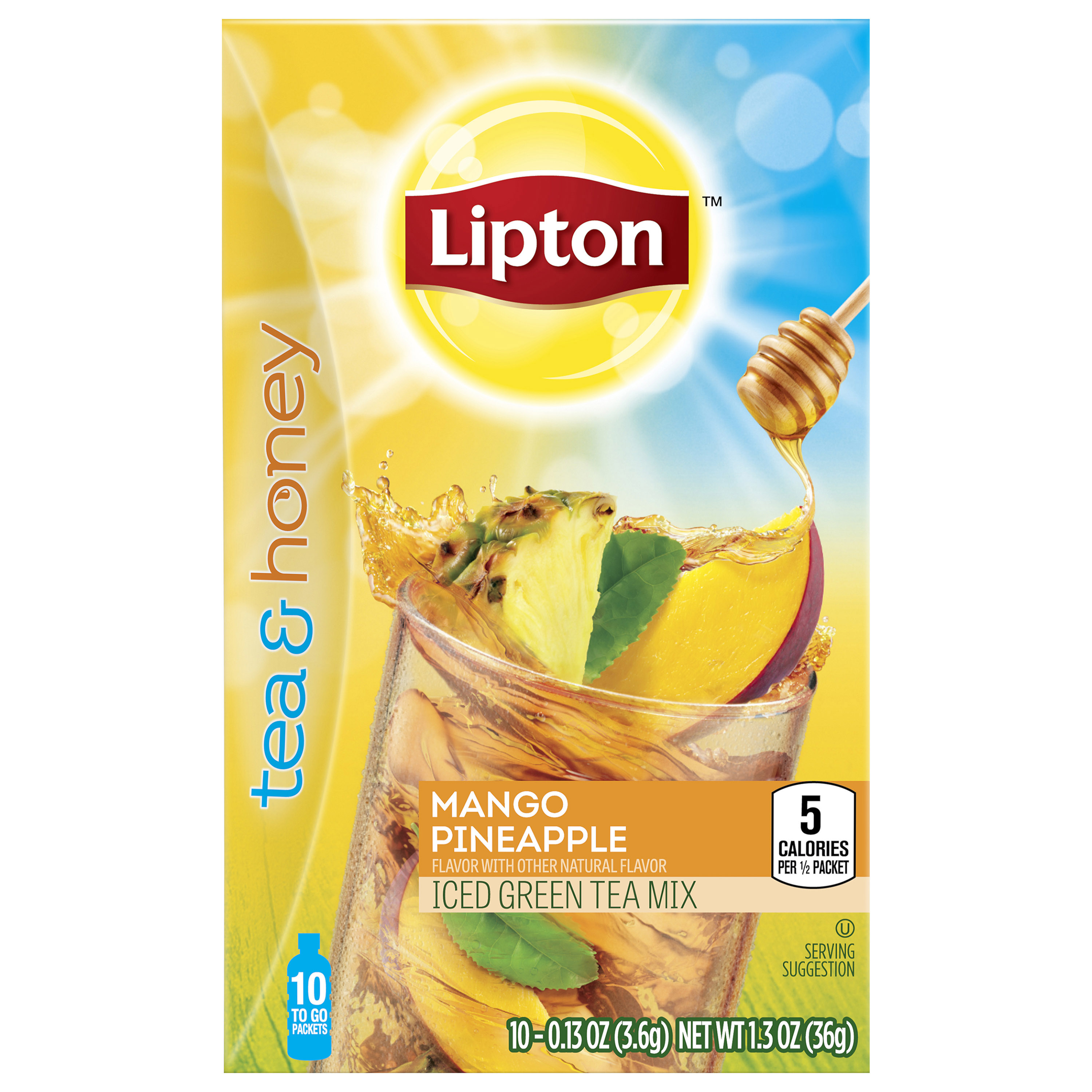 Lipton Mango Pineapple Iced Green Tea To-Go Packets, 10 ct