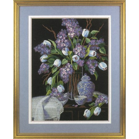 """Dimensions """"Lilacs And Lace"""" Crewel Kit, 12"""" x 16"""", Stitched In Wool and Thread"""