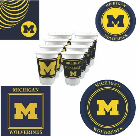 Michigan Wolverines Party Supplies - 80 pieces (Serves 16)](University Of Michigan Party Supplies)