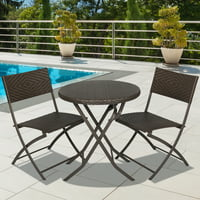 Best Choice Products Hand Woven Rattan 3-Piece Outdoor Bistro Set, Brown