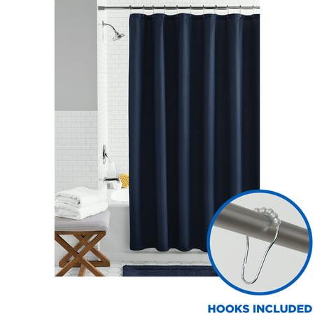 Blue Fabric Bathroom Set, 13-Piece Shower Curtain and Hooks, Mainstays Waffle Weave