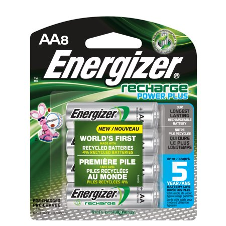 - Energizer Recharge Power Plus Rechargeable AA Batteries, 8 Pack