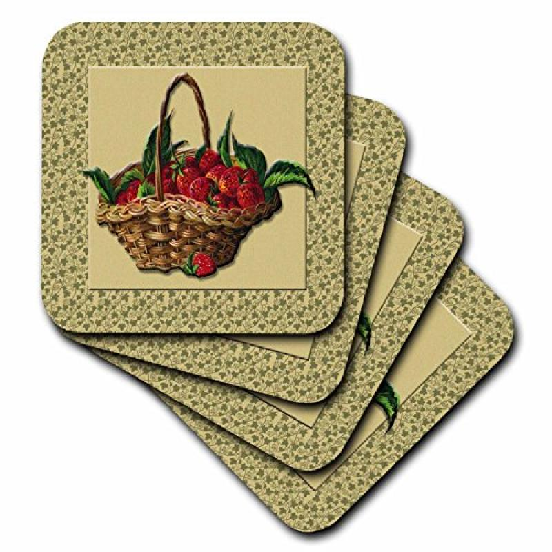 3dRose Woven Basket of Strawberries on a Green Ivy Pattern Background, Ceramic Tile Coasters, set of 4