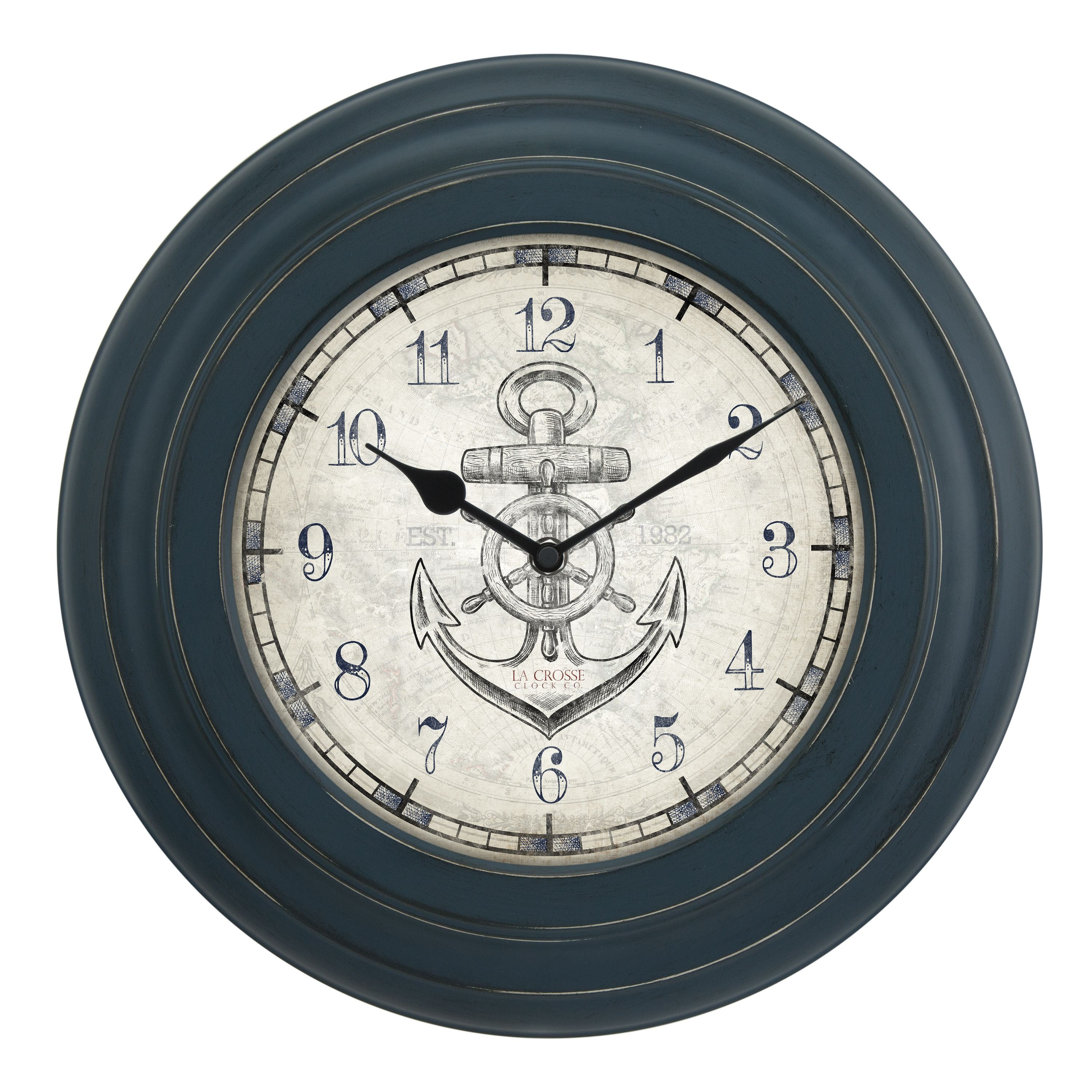 La Crosse Clock BBB85395 14 Inch Distressed Blue Metal Wall Clock with Anchor dial