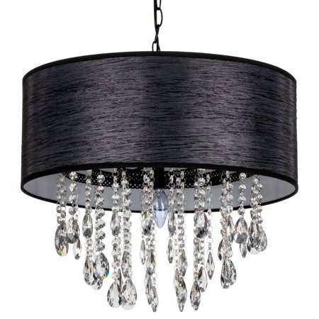 Amalfi Décor Large 5 Light Crystal Plug-In Chandelier with Cylinder Shade (Black) |   Wrought Iron Frame with Glass Crystals ()