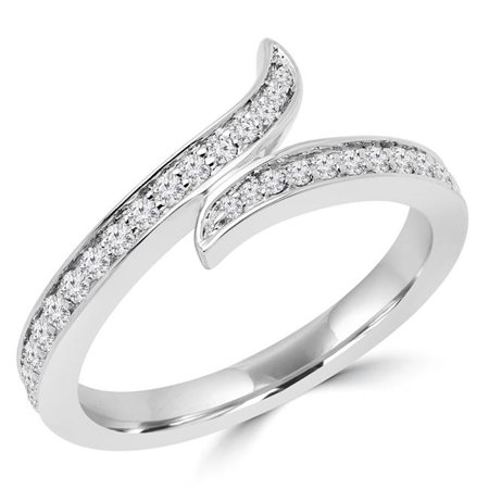 Majesty Diamonds MDR170060-3.25 0.33 CTW Round Diamond Semi-Eternity Wedding Band Ring in 14K White Gold - Size 3.25 - image 1 de 1