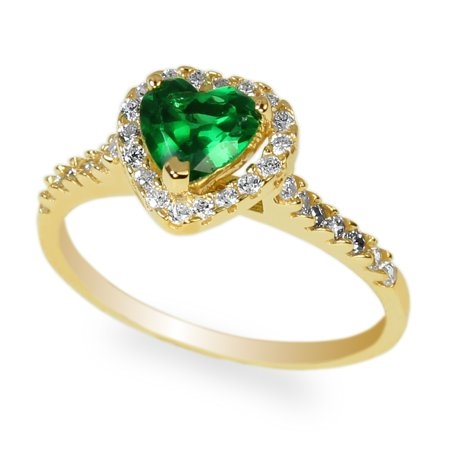 Yellow Gold Plated 0.8 carat Emerald Heart CZ Halo Solitaire Ring Size 5