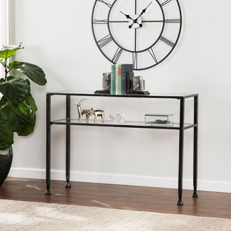 Southern Enterprises Metal Sofa Table, Distressed Black Black Glass Console Table