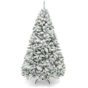 Best Choice Products 6ft Premium Holiday Christmas Pine Tree w/ Snow Flocked Branches, Foldable Metal Base